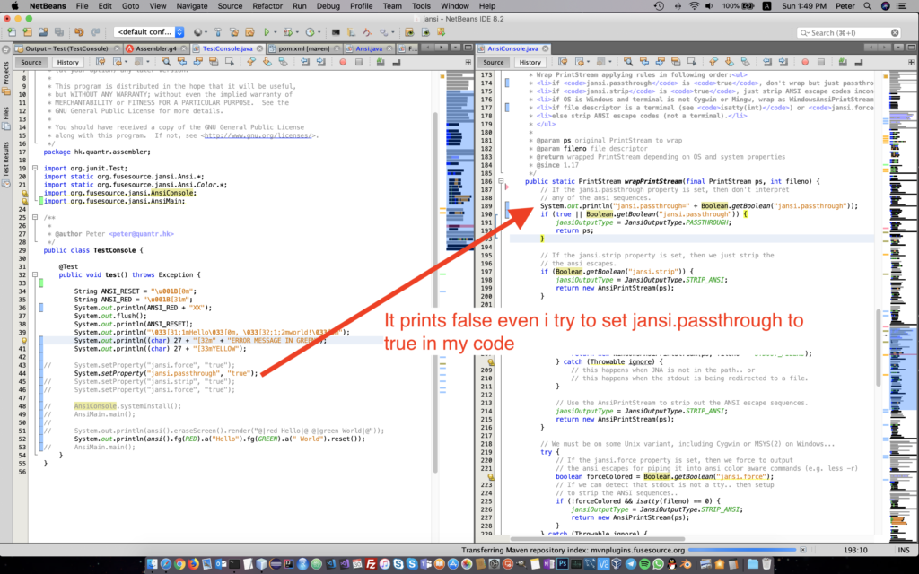 Solved – The root cause why Netbeans can't print colored